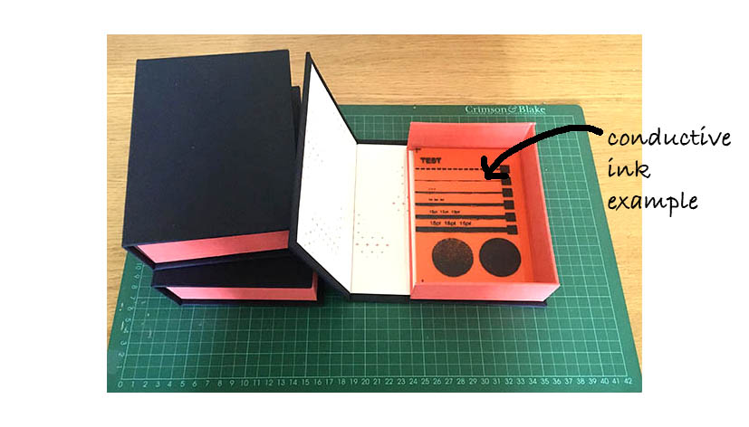3 finished boxes, with an example of contents