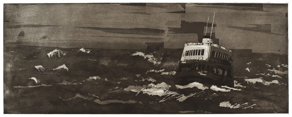 Etching of Crossing to Kowloon, 2016