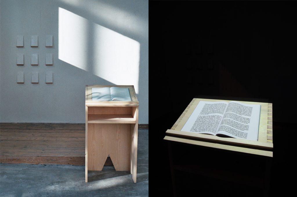 Installation view of an interactive book, Stuttgart Germany 2014.