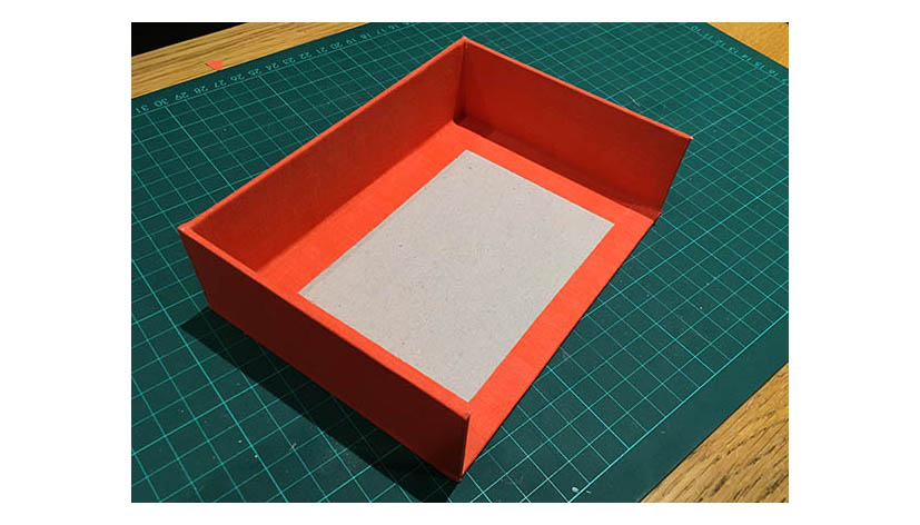 3 sided crate style box, covered with book cloth