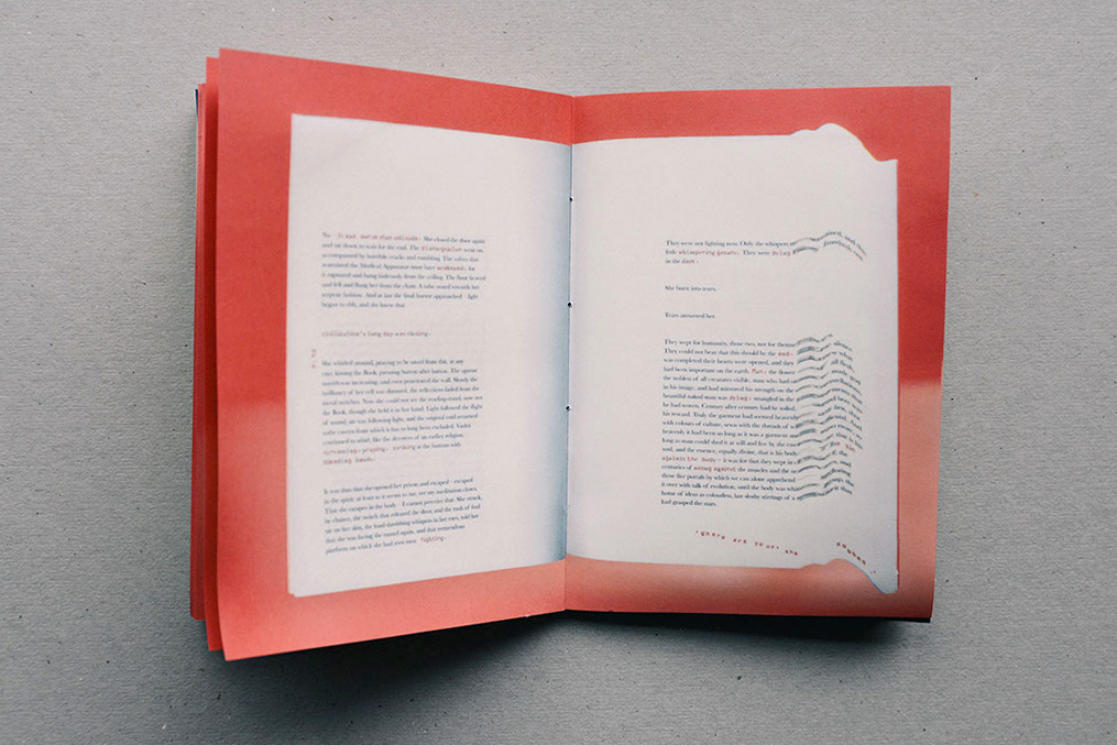 The image shows a book spread which is Azelia's interpretation of The Machine Stops by E.M Forster