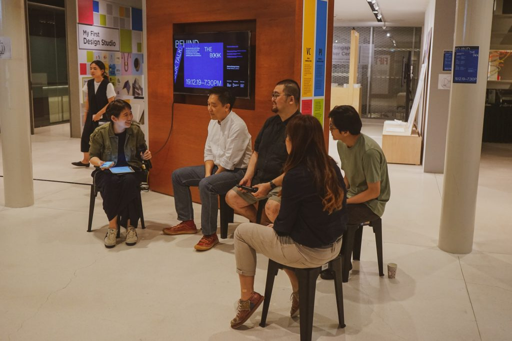 The image shows Azelia moderating the 'Book Talk: Behind the Book' at National Design Centre