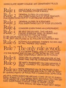 poster by Sister Corita Kent - the rules of the art department