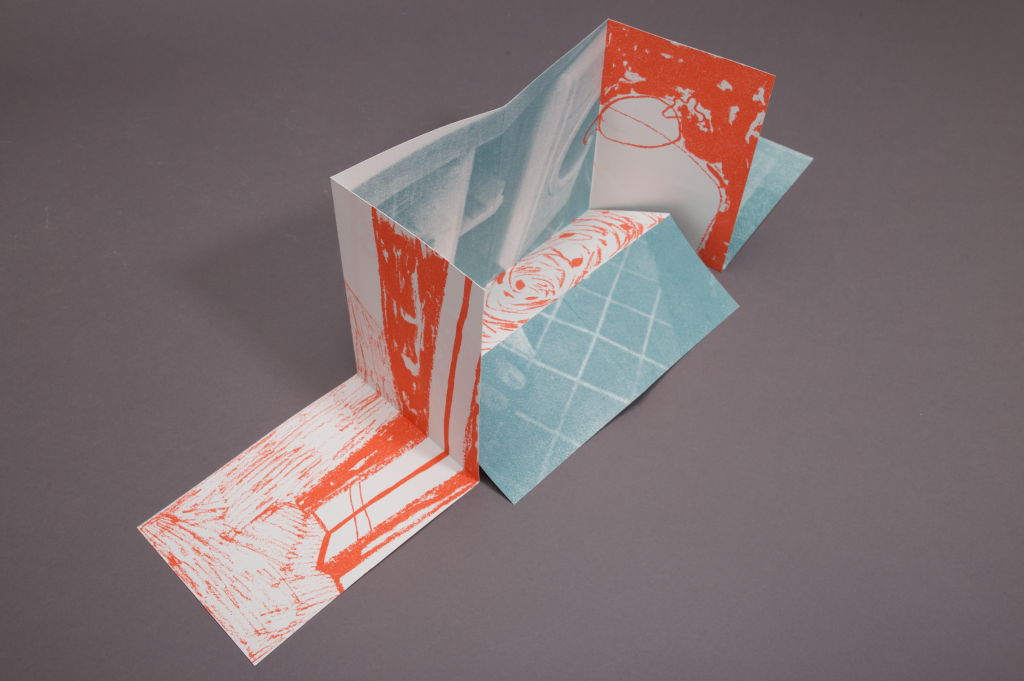 Photo of folded, screen printed publication 'Home', 2020.