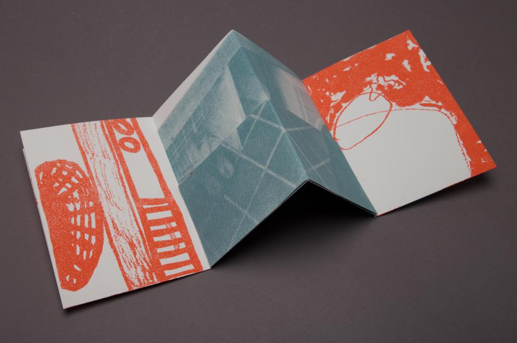 Photo of folded, screenprinted publication 'Home', 2020.