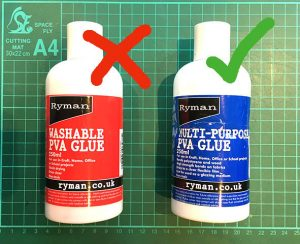 Image of two types of glue, washable and multi purpose PVA.