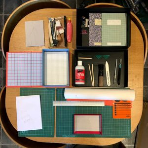 Ariel view of table with tools laid out