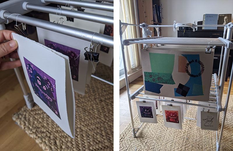 Left: an example of clipping two prints, back-to-back, to the drying rack  Right: a clothes drying rack full of prints