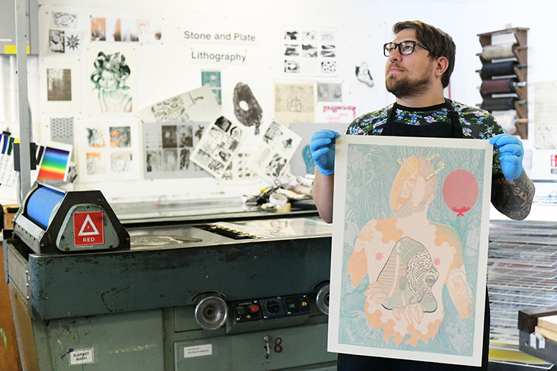 Vito printing in the workshops at LCC, 2018.