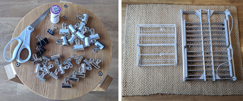 Left: scissors, thread, an assortment of small clips  Right: two clothes drying racks