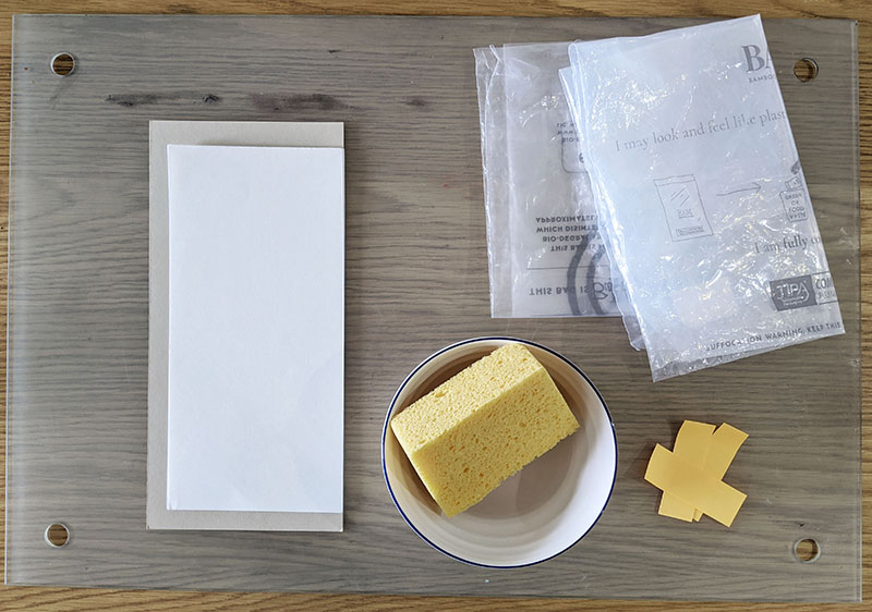 Clockwise from left: stack of paper to soak, two clear plastic bags, coloured paper tabs, a clean sponge in a bowl of water