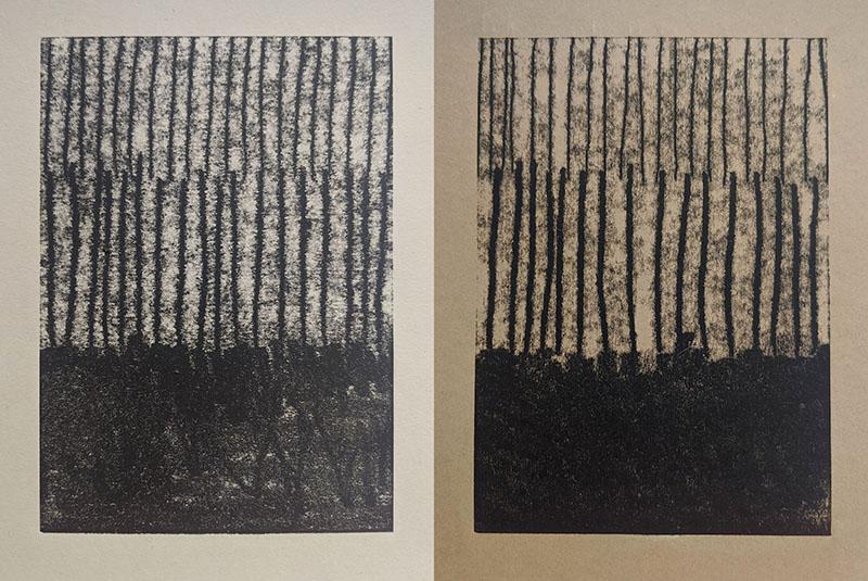 Left: monoprint on Colorplan Harvest Right: monoprint on unknown paper