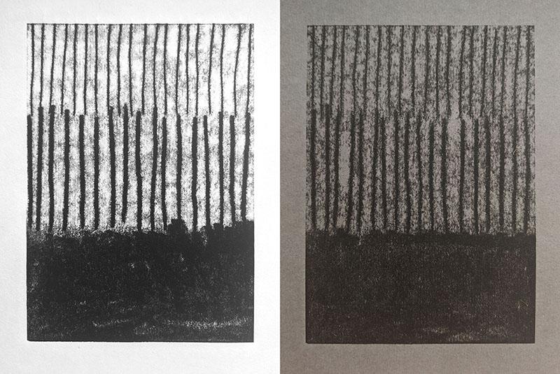 Left: monoprint on Hosho pad Right: monoprint on Colorplan Smoke