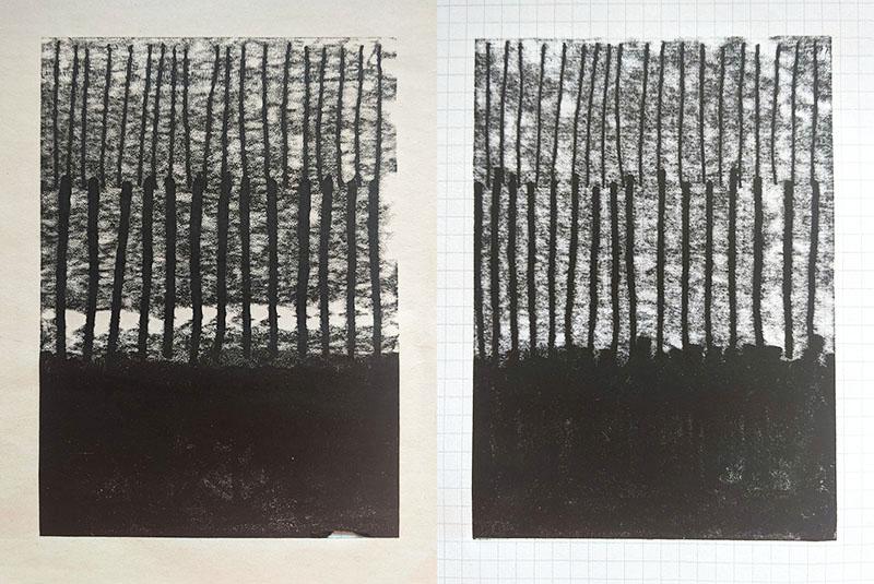 Left: monoprint on newsprint Right: monoprint on graph paper