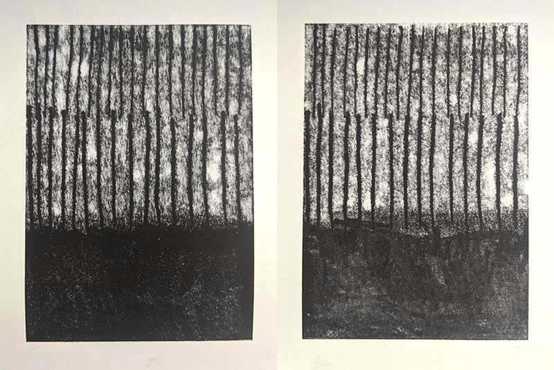 Left: monoprint on Simili Japon Right: monoprint on Zerkall Smooth