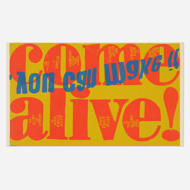 """""""Come Alive"""" : bold typographic Screen print on paper by Sister Corita Kent, 1967"""