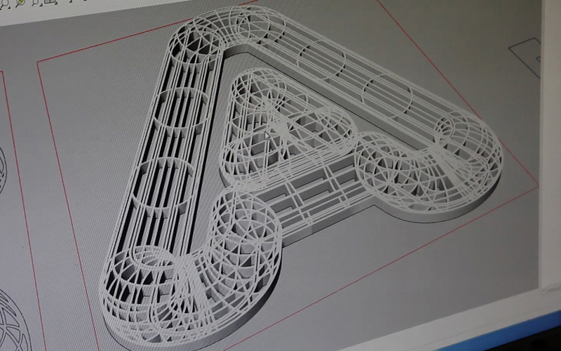 On-screen wireframe of a capital A