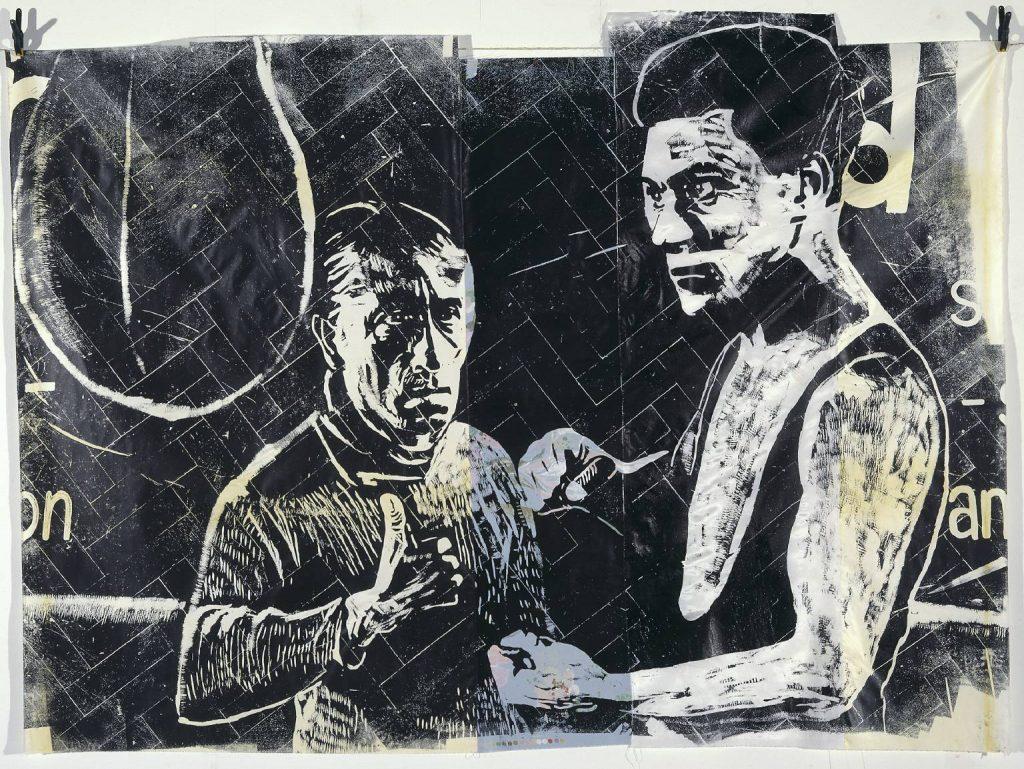 Image of Thomas Kilpper's woodcut flooring 'The Ring: Gordon Harker' 2000.
