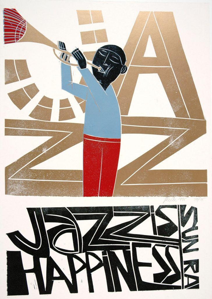 Photograph of linocut 'Jazz is happiness' by Paul Peter Piech.