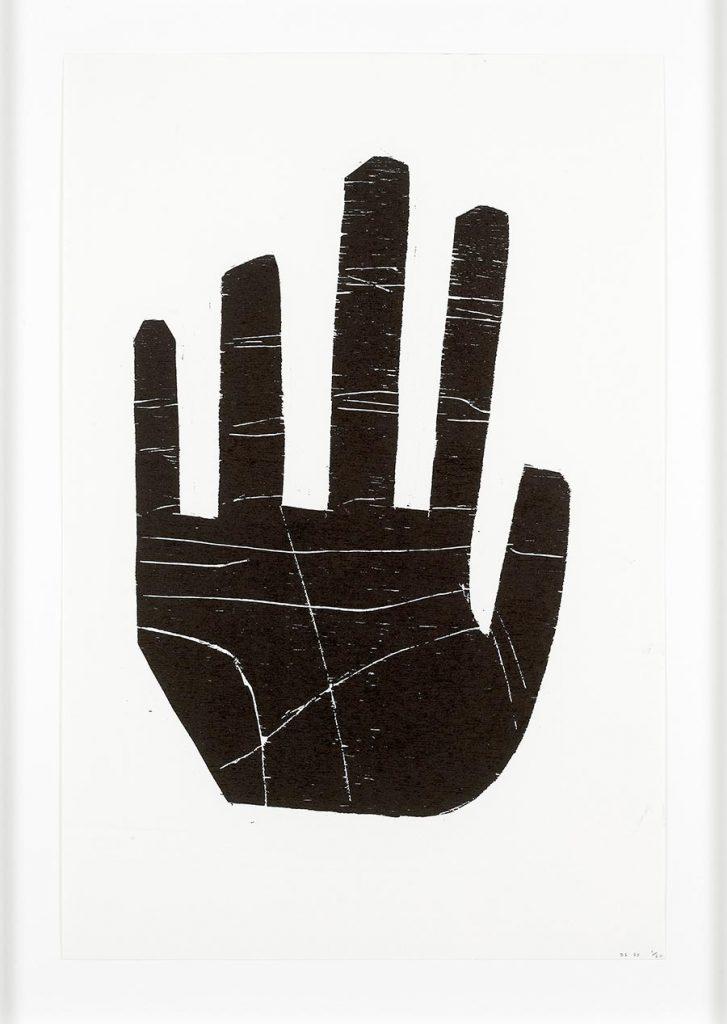 image of david shrigley woodcut 'hand'.