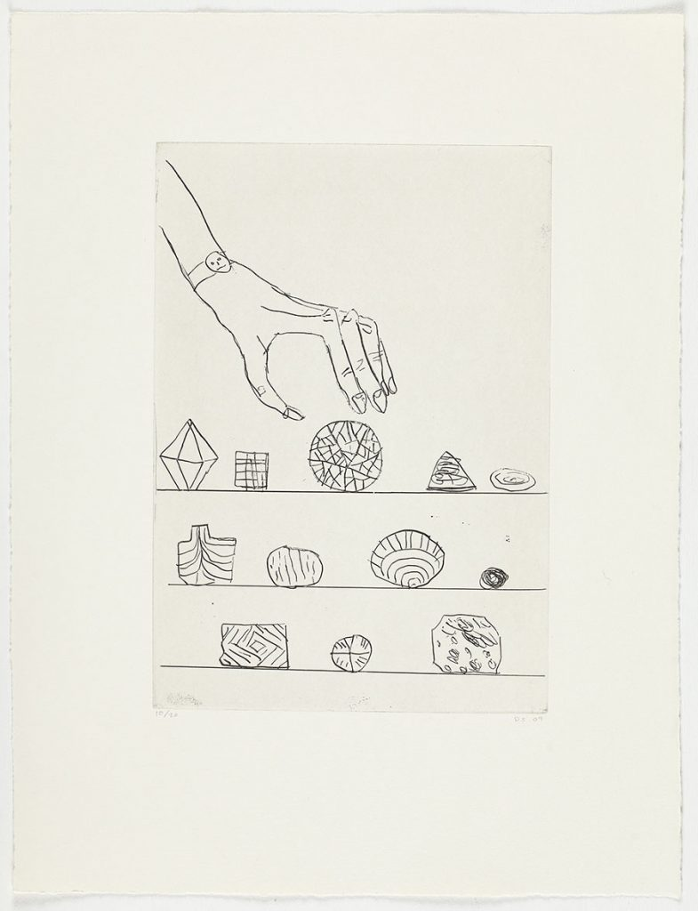Image of David Shrigley etching 'Hand and Twelve Objects'.