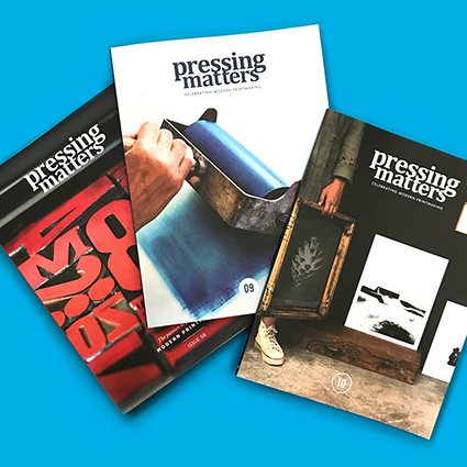 image of Pressing Matters printmaking publication, 3 different issues, front covers.