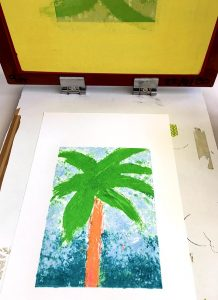 the print on paper being revealed