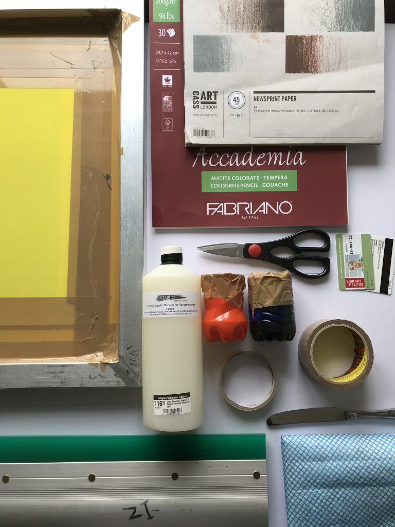 Display of all the tools you will need. Screen, papers, scissors, inks, tapes, squeegee, card, j cloth.