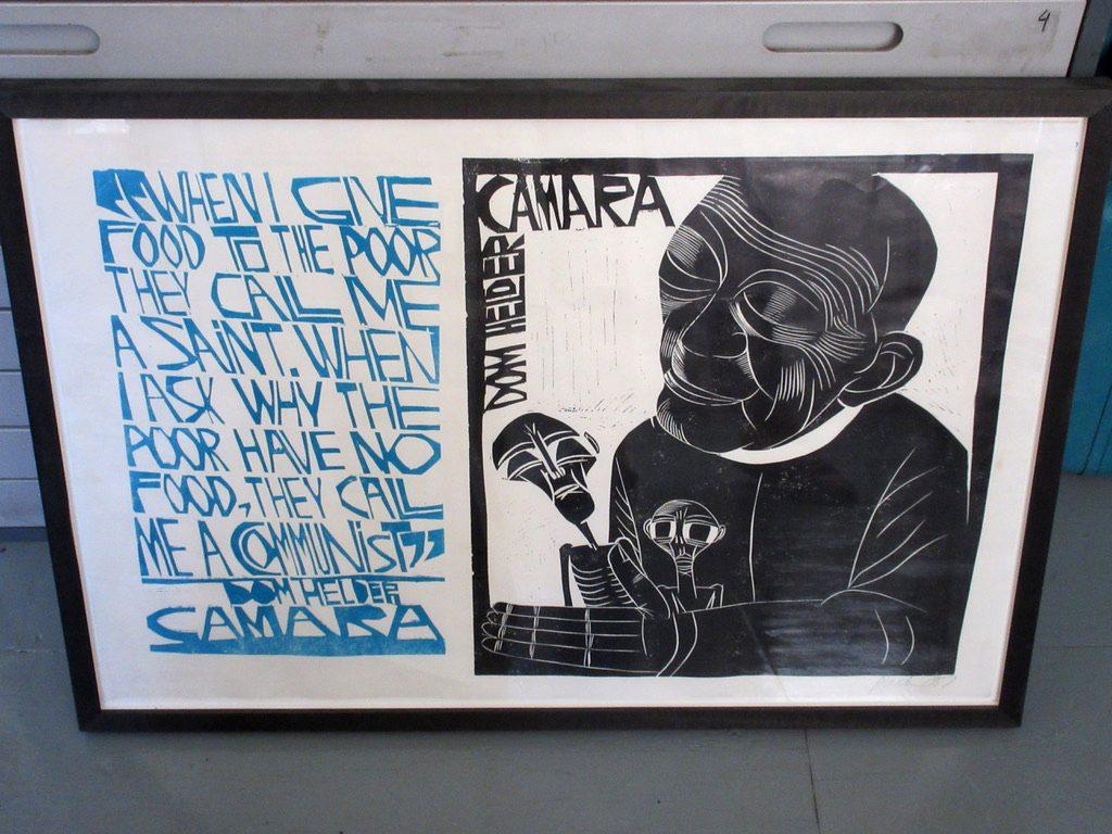 A framed Linocut print by Paul Peter Piech 1987