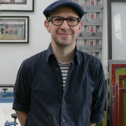 Picture of Richard (but younger) in shirt/hat combo with stripey t-shirt.
