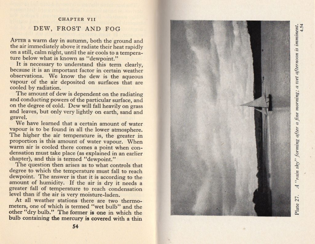 A book spread with a page of text on yellowish paper on the left, and a monochrome image on slightly more white paper on the right.
