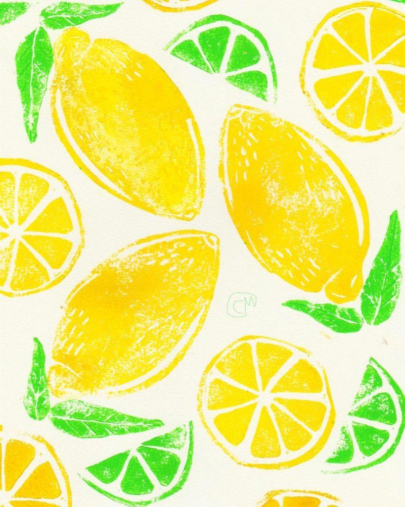 Linocut of lemons and limes.
