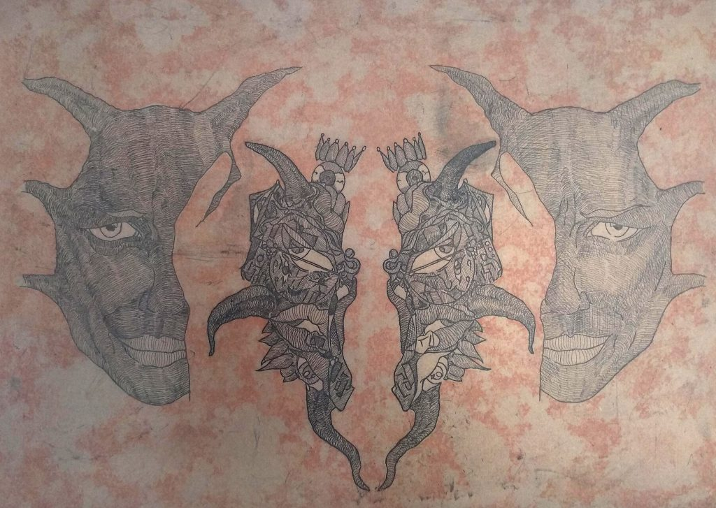 Two plate etching of half faces. Lines in black, background red.