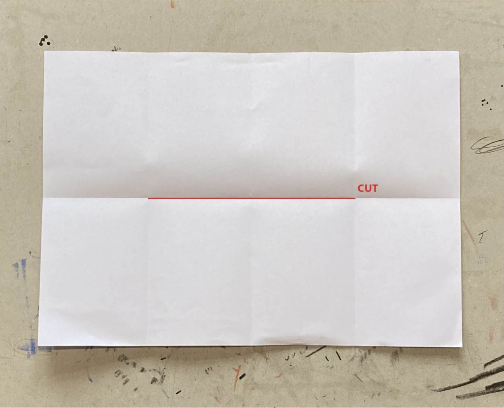 Paper with all folds on. A cut line has been drawn from the first width fold to the third width fold.
