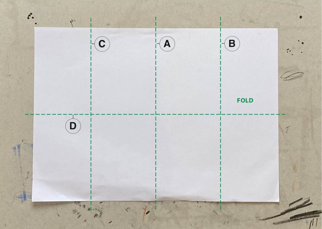 A piece of paper with folds marks drawn and labelled A, B, C and D.