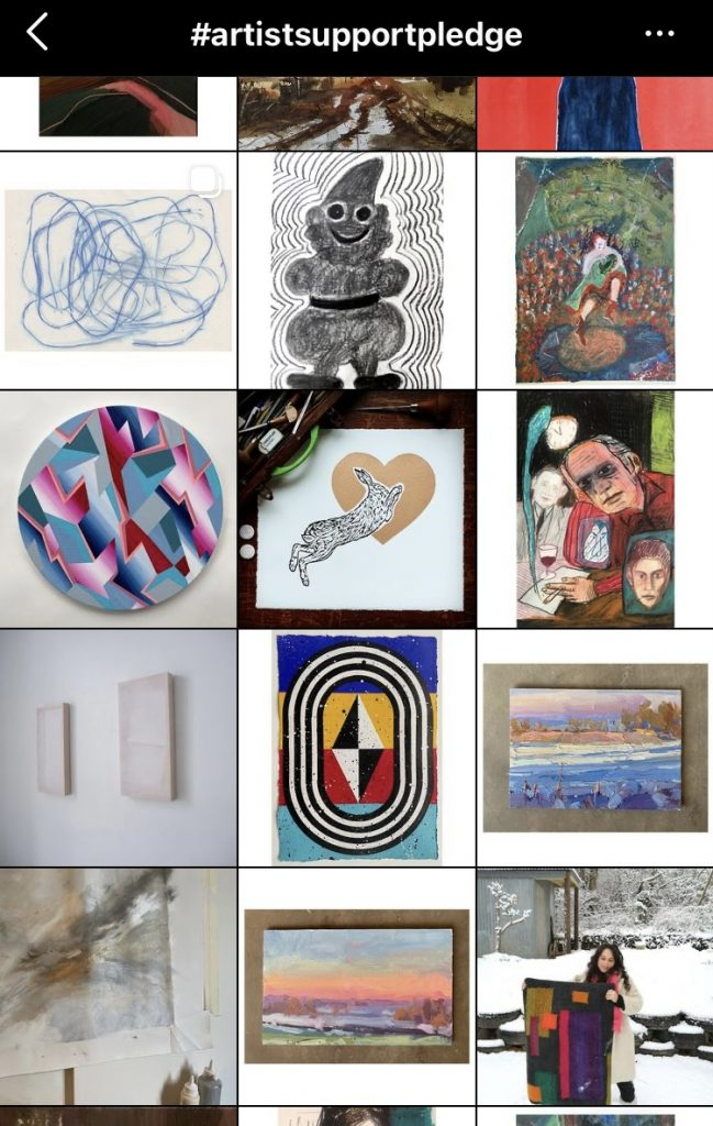 Screen shot of the hashtag artist support pledge, with images in a grid of artwork for sale.