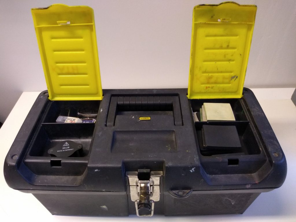 Kath's Toolbox with top compartments open