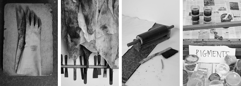 Four black and white images representing printmaking and showing a rubber glove on a lithographic stone, rags and ink knives, a roller and tubs of colour pigments.