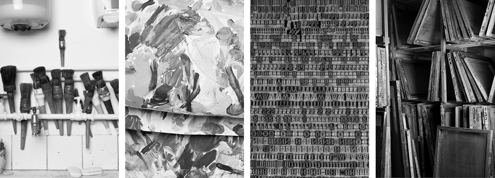Four black and white images showing glue brushes, ink tests, screens for screen printing and metal type.