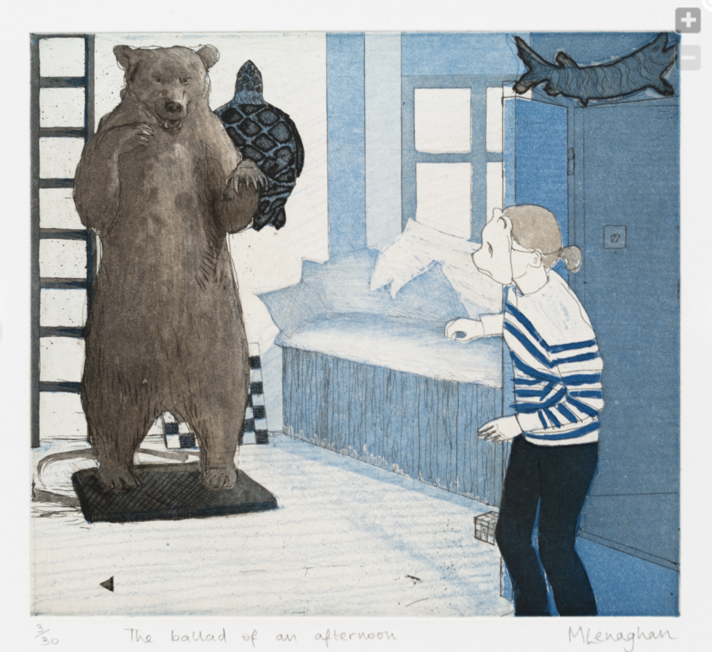 A person is entering a bedroom from the right, wearing a bear mask. The bedroom has a giant stuffed bear, a ladder, and turtle along the wall. The colours are blue toned with some green and burnt umber brown.