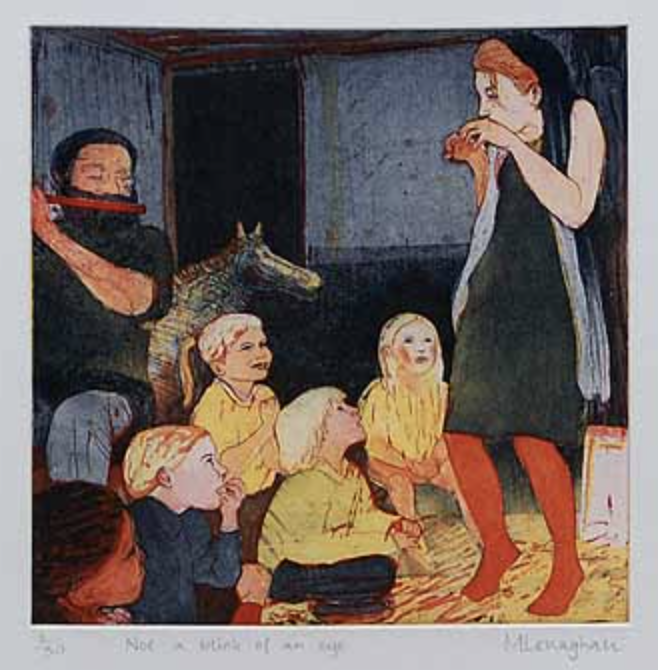 A group of children sit on the floor in semi circle on the left side of a room.Behind them is a person playing a flute. On the right a storyteller is standing animated with their arms are raised up in a creeping action. The colours are dark prussian blues and deep moss greens, with highlights of bright yellow and vermillion reds.