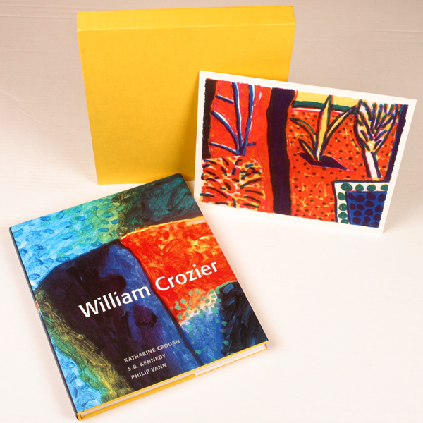 Book with garden print and yellow slip case.