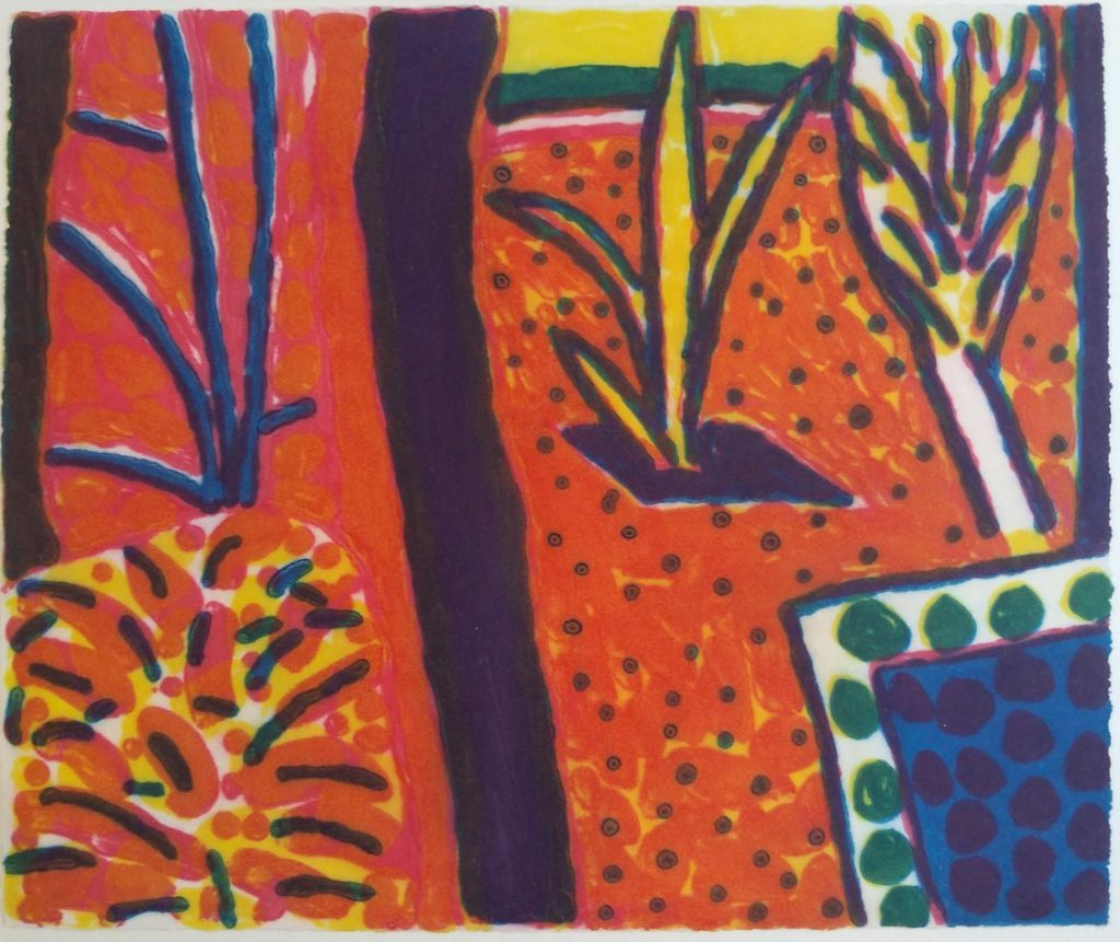 Abstracted garden scene in bright orange, pink, yellow, green and blue.
