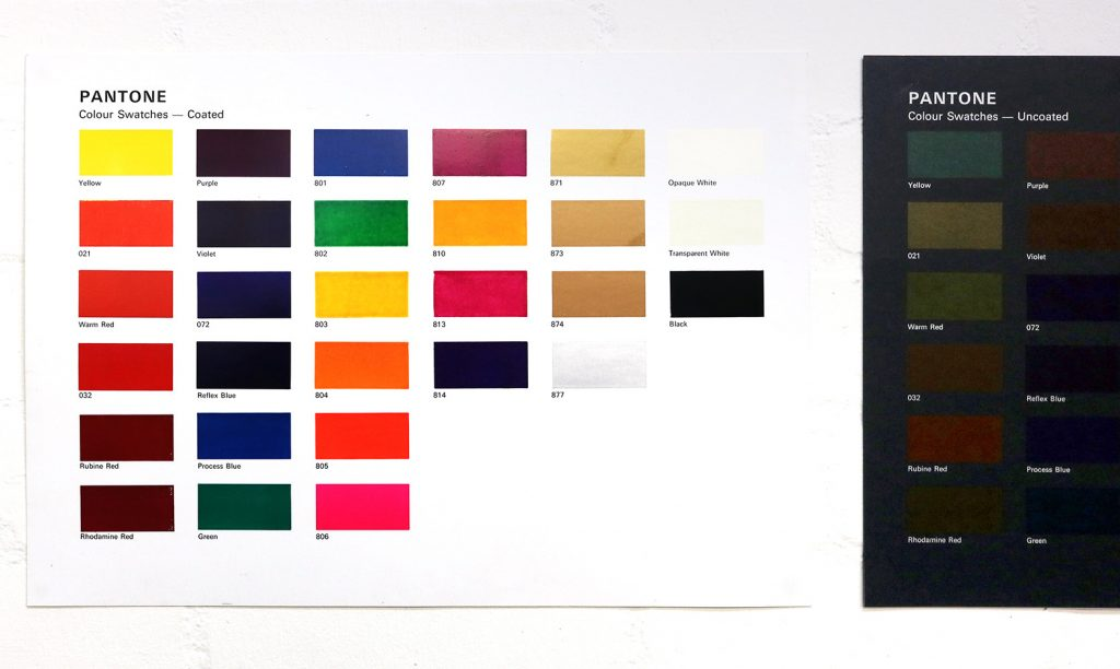A grid of colour swatch tests with their respective Pantone colours.
