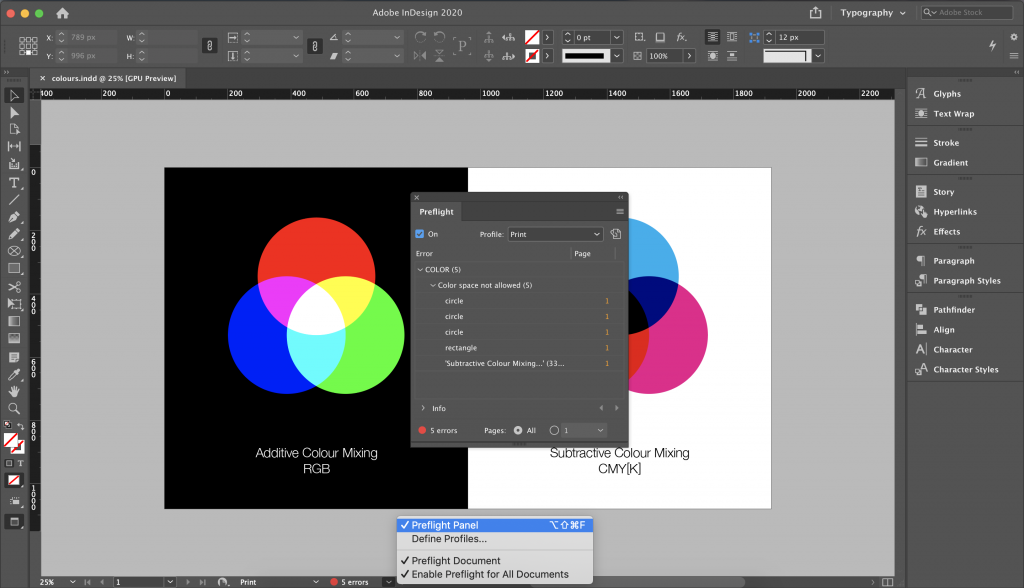 Screenshot from Indesign with the Preflight panel opened