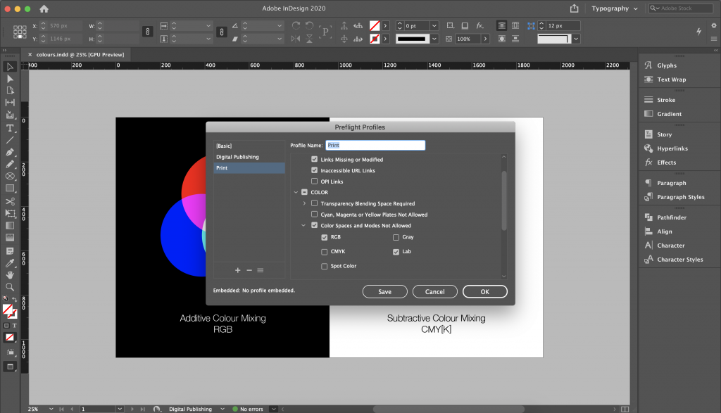 Screenshot from Indesign with Preflight Profiles opened showing a profile called Print. It specifies Color Spaces and Modes Not Allowed: RGB and LAB