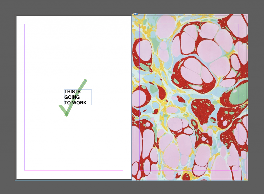 Screenshot of InDesign showing correct use of bleed, with image extended to outer limit