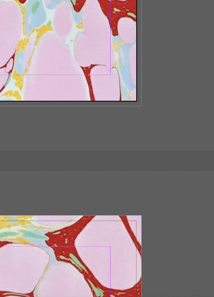 Screenshot of InDesign showing both correct and incorrect use of bleed