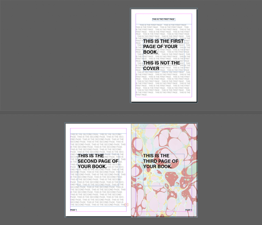 Screenshot of InDesign showing first three pages of a document