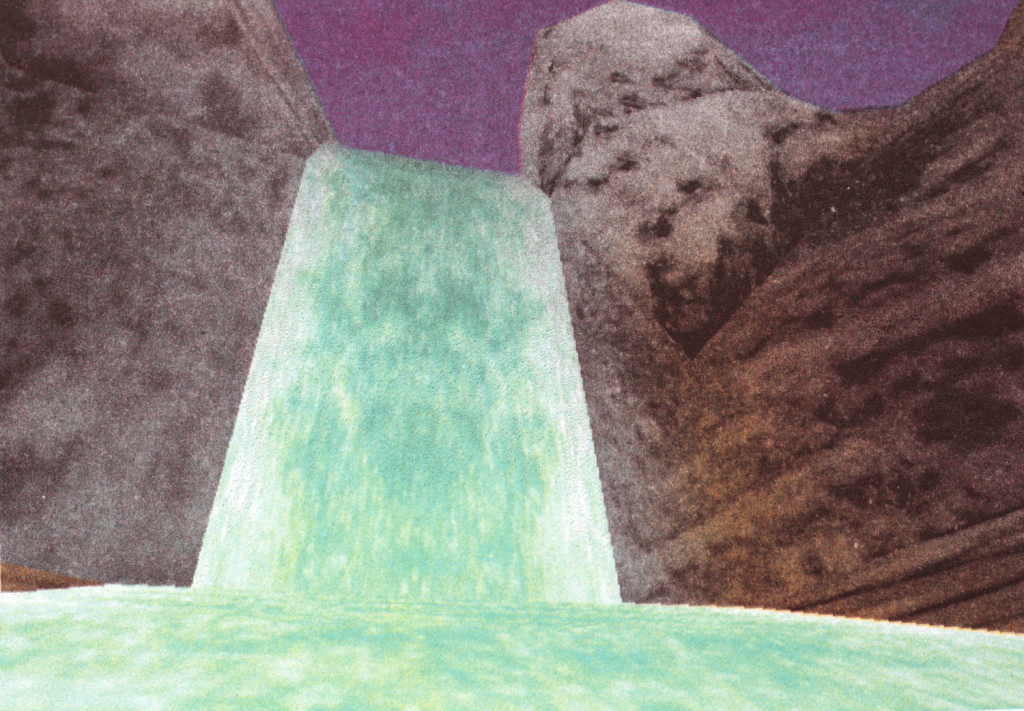 Pokemon Snap graphic of a turquoise waterfall between rocks viewed from below under a purple sky.